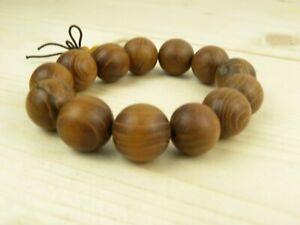 Large Wood Beaded Bracelet Brown Adjustable Hippie Boho