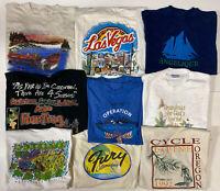 Lot of 9 Vintage 90s Single Stitch Graphic T Shirts Mens M/L Bold Travel Nature
