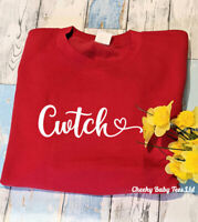 Cwtch ladies' sweatshirt sweater jumper,Red Welsh Hug,Sizes 6-16,Welsh Gift
