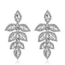 Maple Leaf Design Clear rhinestone Wedding Bridal WOmen Gift Jewelry Earring