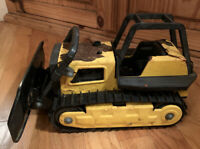Vintage 1980s Tonka Pressed Steel Bulldozer Construction Vehicle Toy Yellow