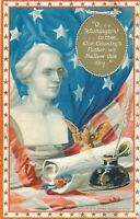 WASHINGTON'S BIRTHDAY - Washington Bust and Inkwell Tuck Patriotic Postcard