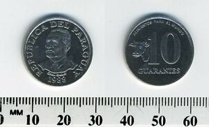 Paraguay 1988 - 10 Guaranies Stainless Steel Coin - Cow head - General Garay
