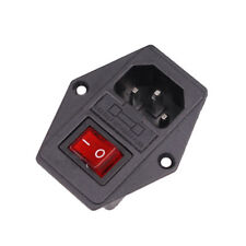 New IEC320 C14 Power Inlet Red SPST Rocker Switch AC 250V/6A 125V/10A