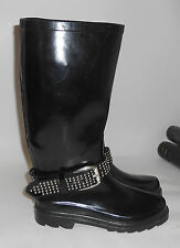 BLACK long   RAIN  boot  ROUND TOE silver stud belt  .Size.    6