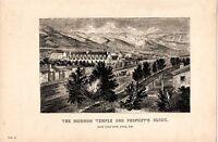 1868 Stampa ~Il Mormon Tempio & PROPHET'S Blocco Sale Lake City Utah USA
