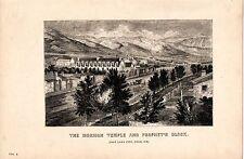 1868 PRINT ~ THE MORMON TEMPLE & PROPHET'S BLOCK SALT LAKE CITY UTAH USA