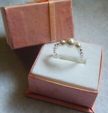 Toe Ring / Pinky Ring  White Pearl & Silver Stretch Fit Australian Handcrafted