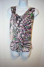NWT$250 Anne Klein S 2 Small Multi Color Ruffle Silk Blouse Cowl Neck Women