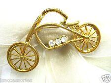 18KGP Bicycle Swarovski Element Austrian Crystal Rhinestone Brooch Pin