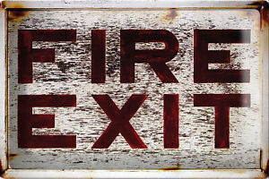 Fire Exit Blechschild 20x30cm Retro Nostalgie Vintage Geschenk Deko