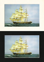 Cutty Sark British Ship/Nautical/Maritime Print Mounted Cornelis de Vries A4 Bla