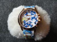 Ladies Geneva Platinum Quartz Watch with a Pretty Dial and Band