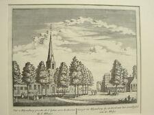Kupferstich Niederlande Blick auf Rhynsburg mit den Ruinen der Abtei 18. Jhdt.