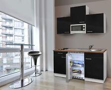 Mini Cucina Singola Cucinino Blocco 150 cm Bianco Nero Respekta