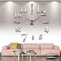 Modern DIY Large Wall Clock Art Design 3D Mirror Surface Sticker Home Decor