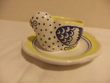 Quimper Henriot Pattern Egg Cup w/Chick Chicken in Saucer