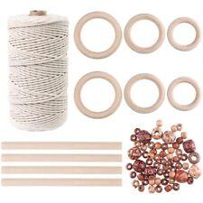 3mm Natural Macrame Cord With 60 Pcs Wood Beads 6pcs Wood Ring and 4pcs Wood N1y