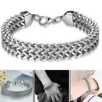 Mens Silver Stainless Steel Bracelet Wristband Bangle Chain Link Jewelry Punk