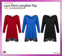 New Ladies Women Lace Hem Longline 3/4 Sleeves Top Plus Sizes 12-24