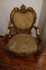 Antique Vintage Arm Chair gold king queen stunning gothic rare goths cathedral
