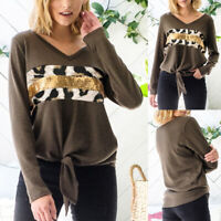 Women Long Sleeve Sequin T-Shirt Ladies V-Neck Leopard Blouse Pullover Top Party