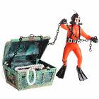 Aquarium Fish Tank Ornament Decor Treasure Hunter Chest Diver Air Action NEW