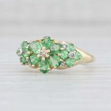 Green Tsavorite Garnet Diamond Flower Ring 10k Yellow Gold Size 7 Floral