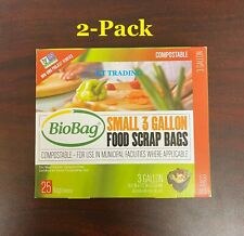 (2-Pack) BioBag Food Scrap Bags Small 3 Gallon Compostable Odorless Non-GMO 50ct