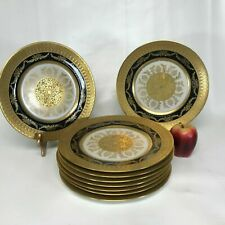 Set of 9 Hutschenreuther Gold Encrusted & Black Rim Dinner Plates
