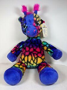 "Build-A-Bear Wild Style Rainbow Multi-Color Giraffe Stuffed Animal 19"""
