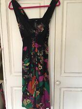 H&M Dress Size 8 Sleeveless Floral black & multi coloured