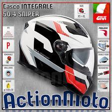 Casco Helmet Casque GIVI Integrale 50.4 Sniper Bianco Rosso Nero TG M 57 58 CM