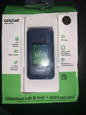 New listing Cricket Debut FLIP Phone 4GB - Navy Blue - Cricket Wireless brand new and sealed