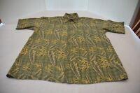 Puritan Men Button Down Shirt Hawaiian SizeL Green Yellow Tan Rayon Short Sleeve
