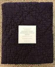 Restoration Hardware Belgian Linen Diamond Stitch Euro Pillow Sham Aubergine