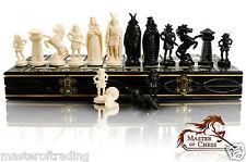 Wikinger wei�Ÿ & schwarz Edition Schachspiel aus Holz 40x40cm & Kunststoff-Teile