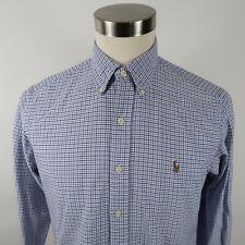 Polo Ralph Lauren Mens Classic Fit LS Button Down Black Blue White Plaid Shirt M
