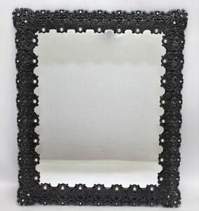 Vintage Ornate Metal Mirror with Rhinestones and Faux Pearls