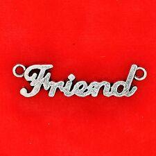 """3 x tibétain argent """"ami"""" plaque connecteur charm pendentifs bijoux collier"""