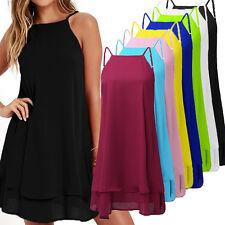 ZANZEA Women Strappy Loose Casual Solid Short Mini Dress Summer Beach Dress Plus