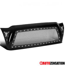 For 05-11 Toyota Tacoma ABS Black Mesh Rivet Front Bumper Hood Grille w/ Shell