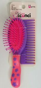 Scunci Cushioned Oval Brush & Wide Tooth Comb Set #18744