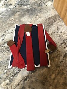 New Club Room Men's Red Dress Clip End 28mm Width Braces Adjustable Suspenders