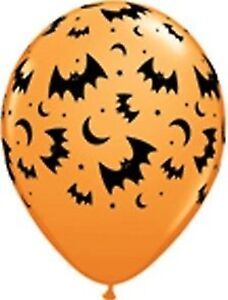 Halloween Orange Balloon - Black Bats & Moon Print 2 for $1.50 - Halloween Party