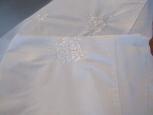 Ashwell Simply Shabby Chic King Pillow Shams White  Embroidered rose scalloped