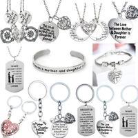 Mother Daughter Best Friends Love Heart Pendant Necklace Set Gifts Mum Mom
