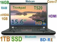 "# 3D-Design Thinkpad T520 i7-2.8Ghz (1TB SSD Blu-Ray Burner) 16GB 15.6"" nVIDIA"