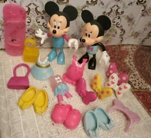 Minnie Mouse Bowtique Dress Up Snap On Clothes Lot And  Dolls