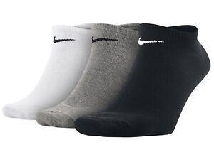 3 PACK NIKE Logo No Show Ankle Socks, Pairs Men's Women's - Black White Grey